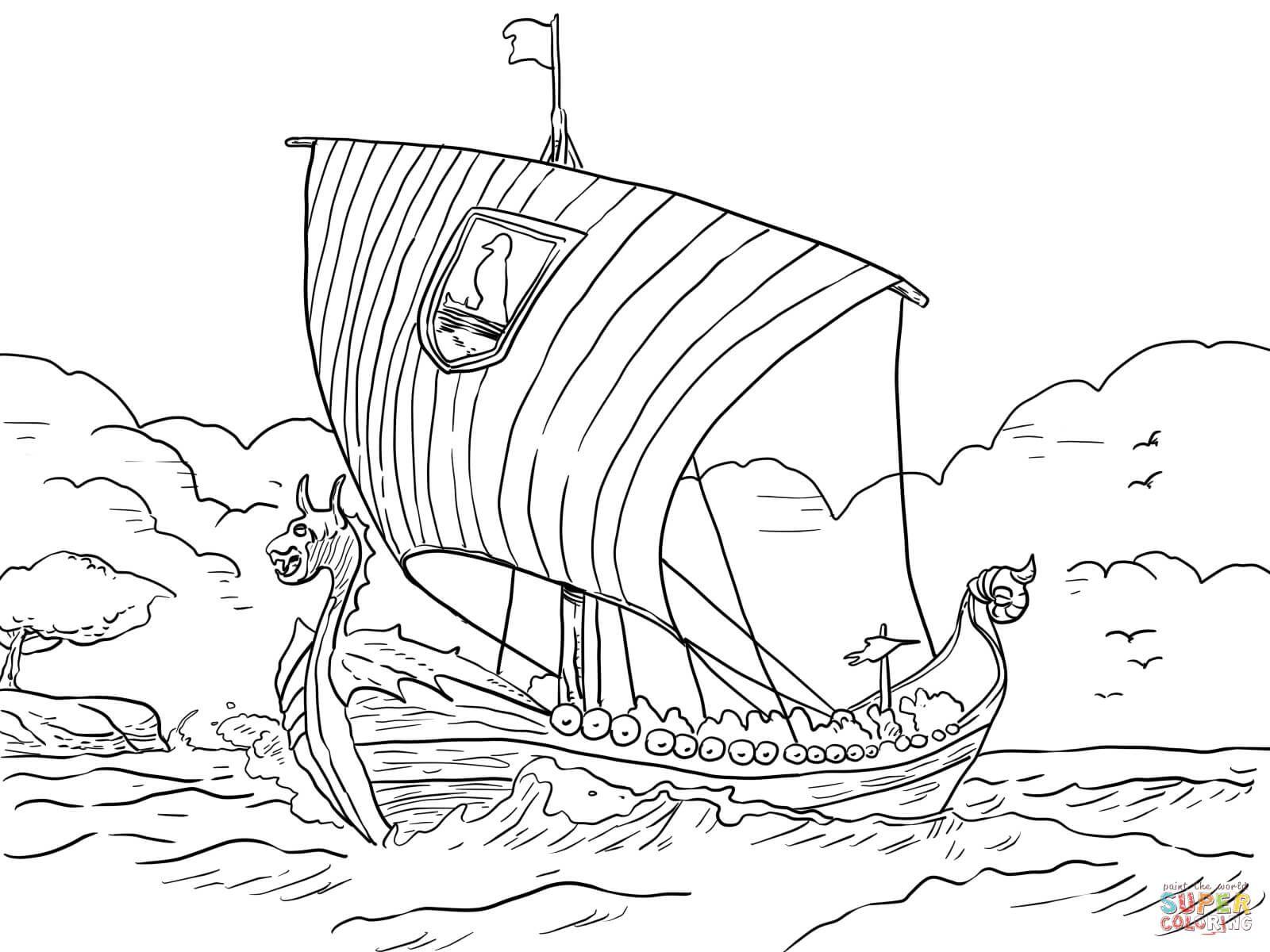 Longship Viking Sea Vessel Coloring Page   Free Printable