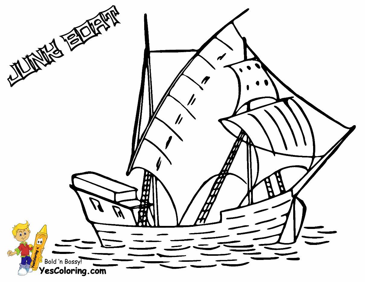 Print Out This Sailing Junk Boat Coloring Page! Tell Other