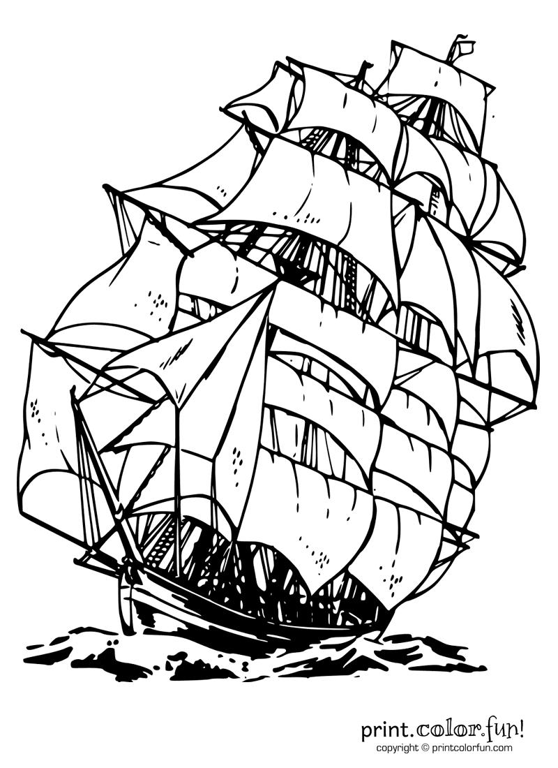 Clipper Ship | Print Color Fun! Free Printables, Coloring
