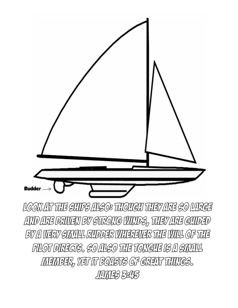 Sailboat With Rudder Coloring Page For James 3:4-5   Kid