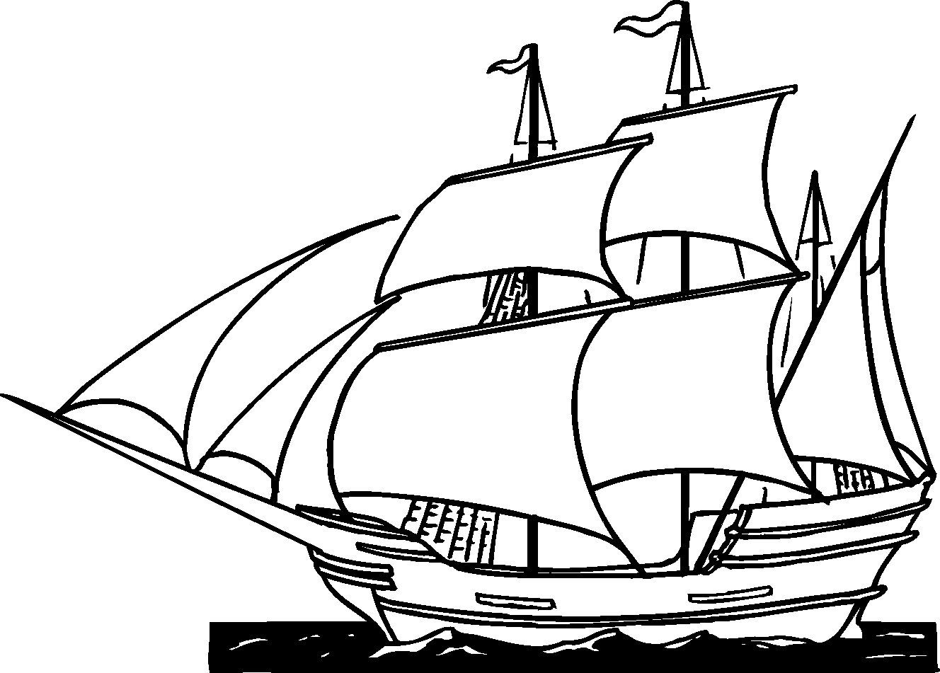 Pirate Ship Coloring Pages Sail   Ships   Thanksgiving