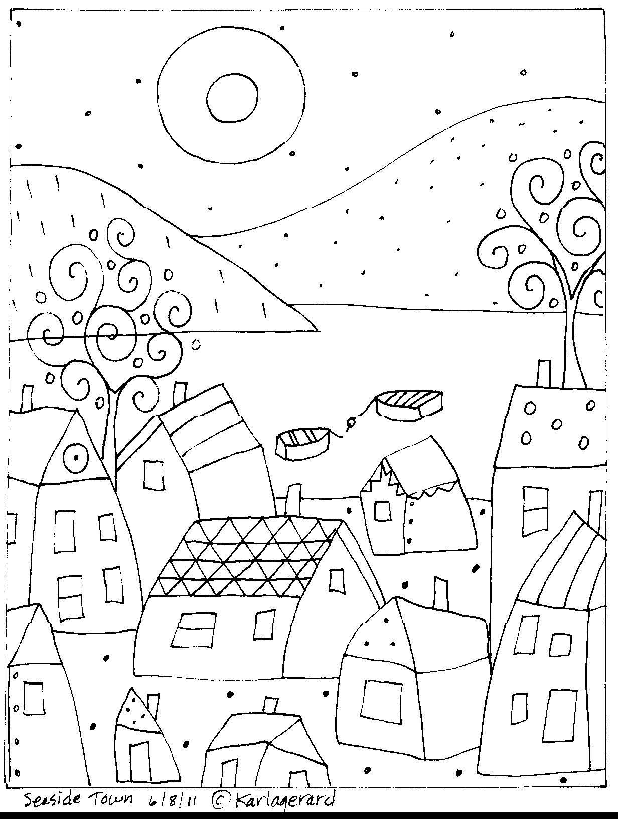 Seaside-town-rughook By Karla Gerard   Coloring Pages   Folk