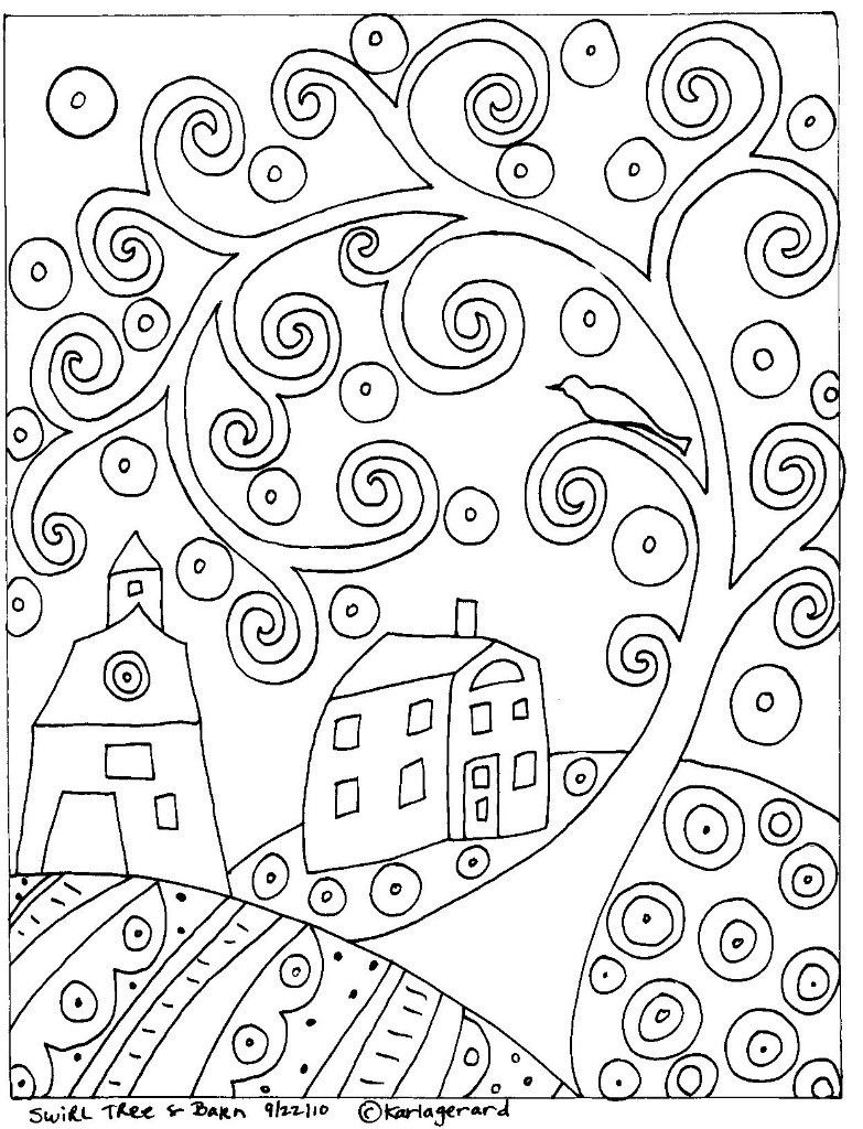 Swirl Tree House And Barn *** | Coloring Pages - Karla