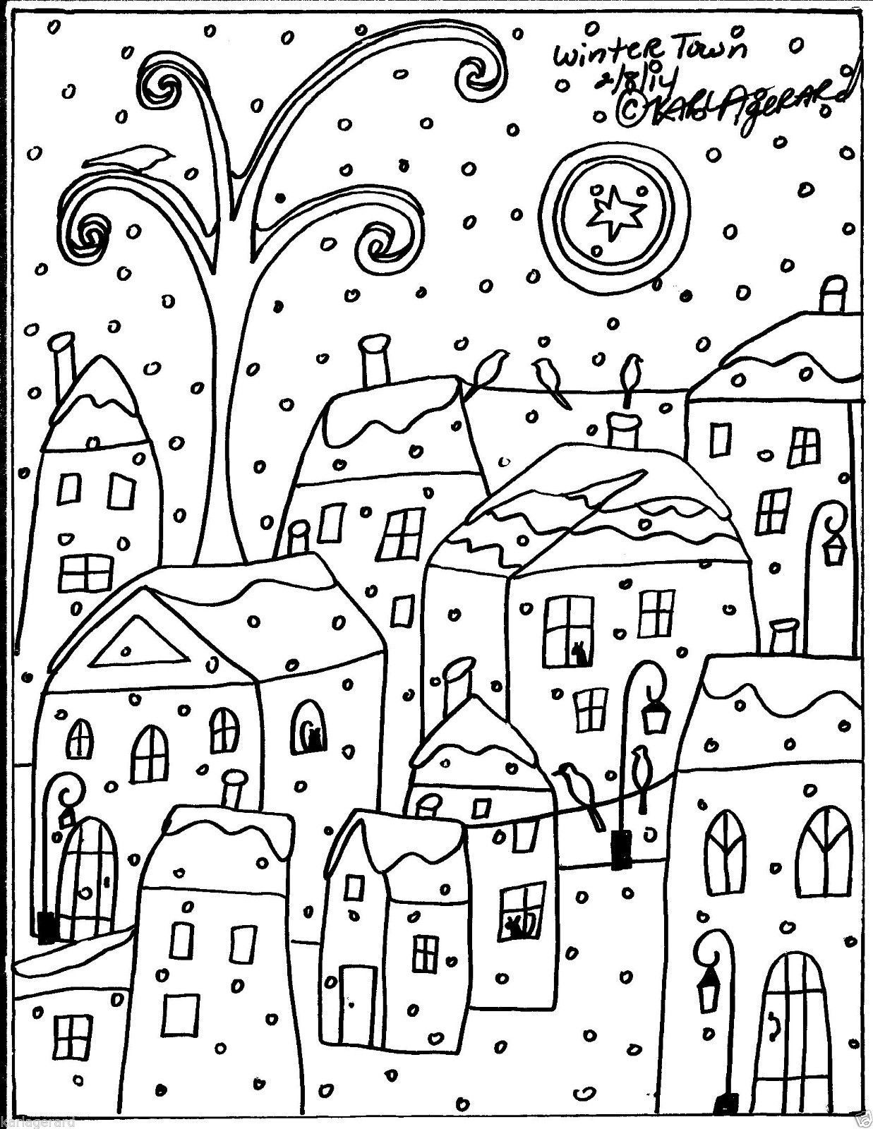 Winter Town By Karla Gerard | Coloring Pages | Rug Hooking