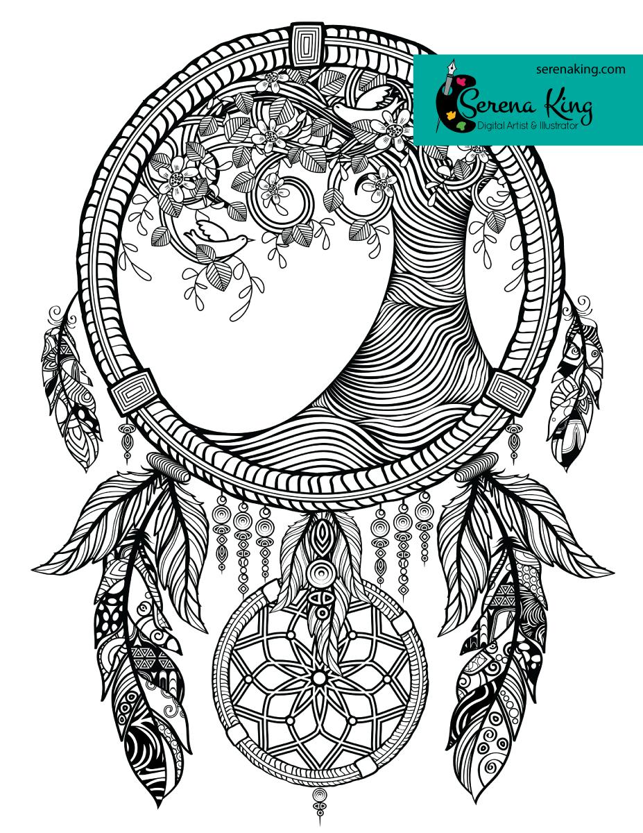 Tree Dreamcatcher Coloring Page | Free Stuff | Dream Catcher
