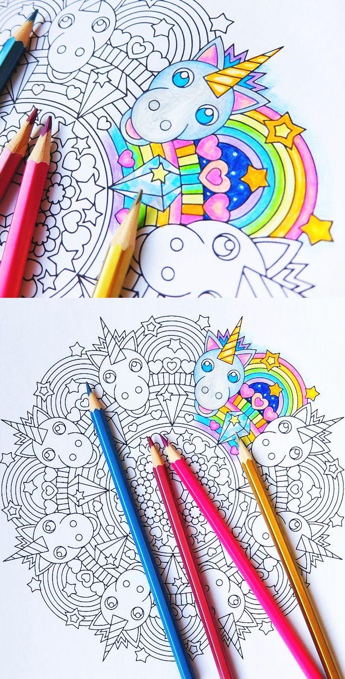 Rainbow Unicorn - Mandala Coloring Page - Printable Coloring