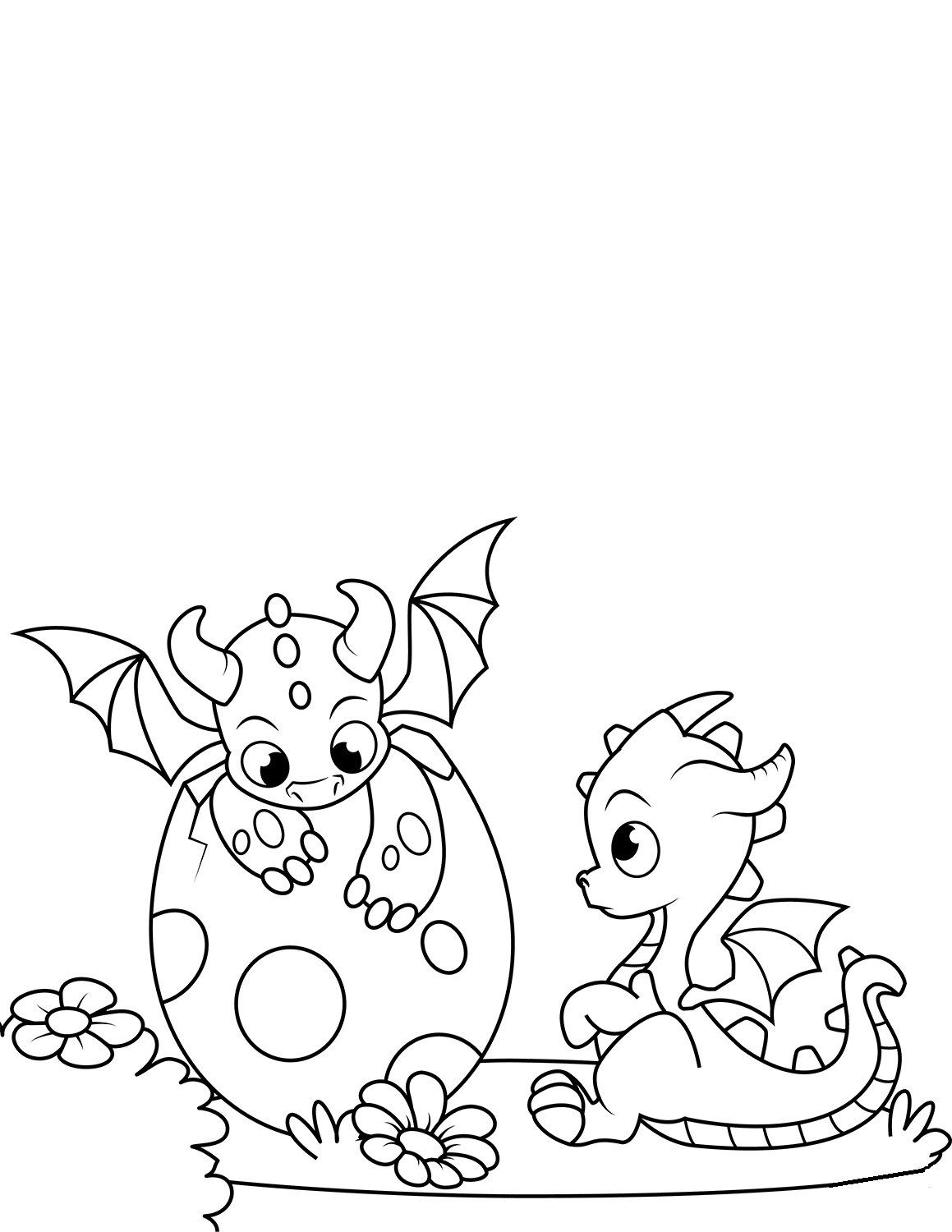 Cute Baby Dragon Coloring Pages For Children   Printable