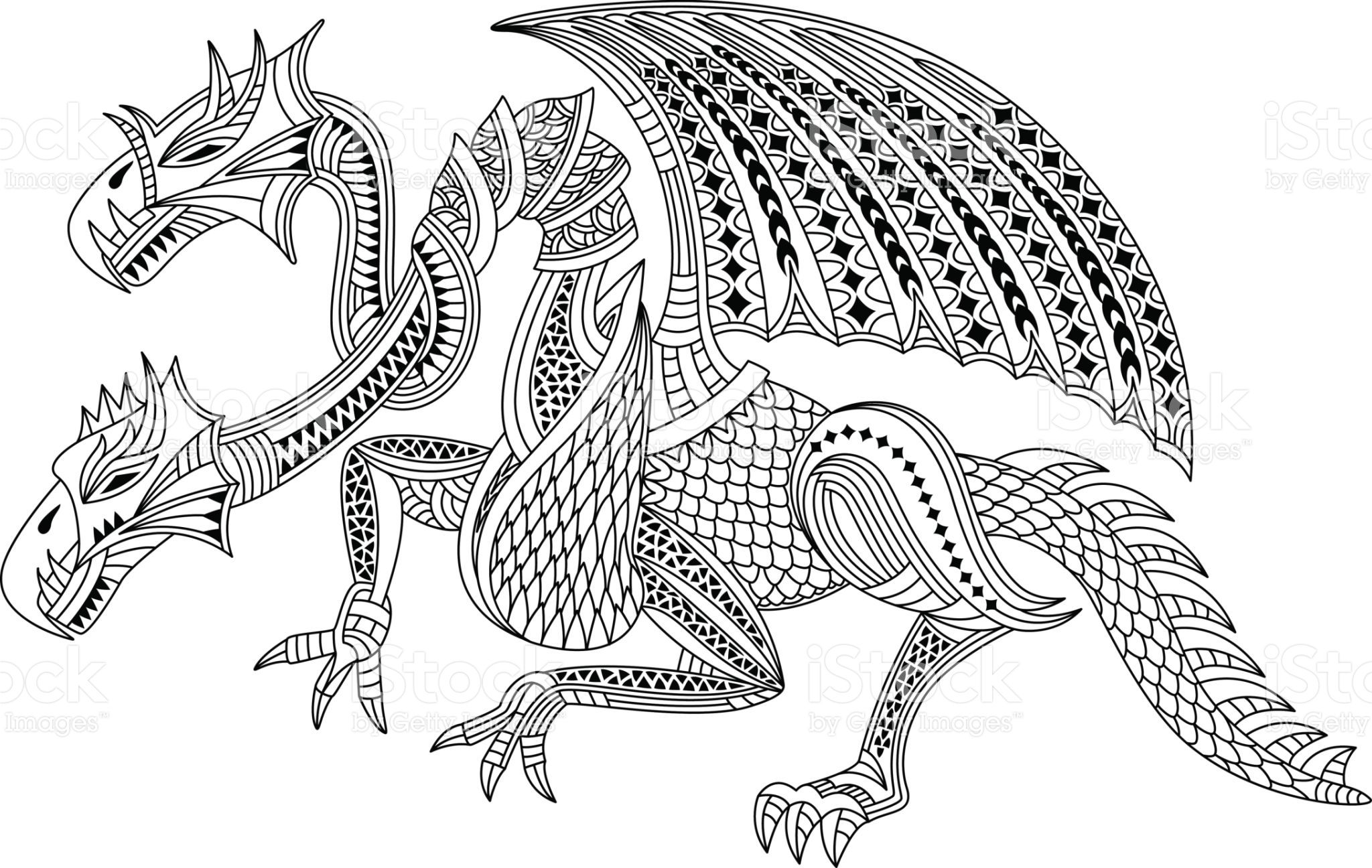 Beautiful Two Headed Dragon Coloring Book Or Tattoo Vector
