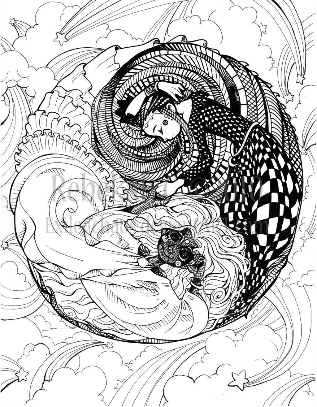 Ying Yang Design Coloring Pages   Pin Dragons Eye Fairy Tail