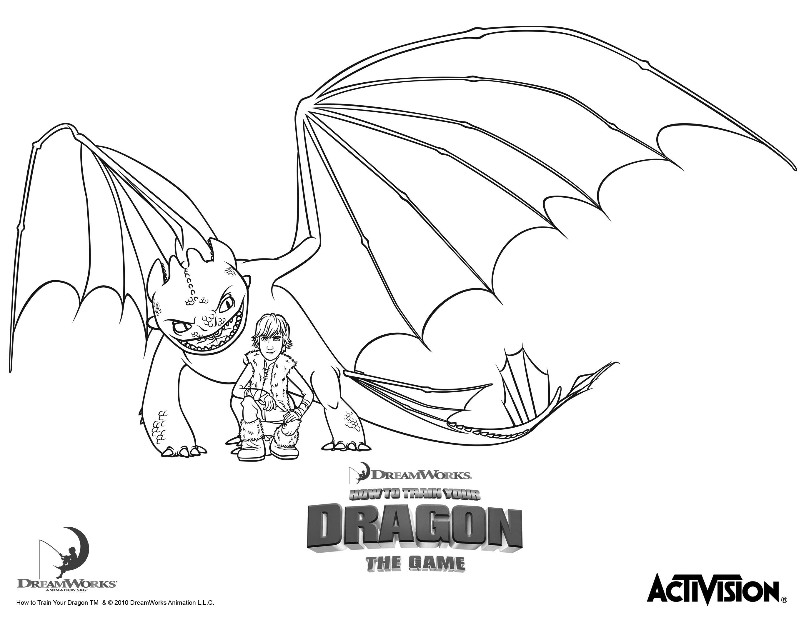 Hiccup And Night Fury – How To Train Your Dragon Coloring