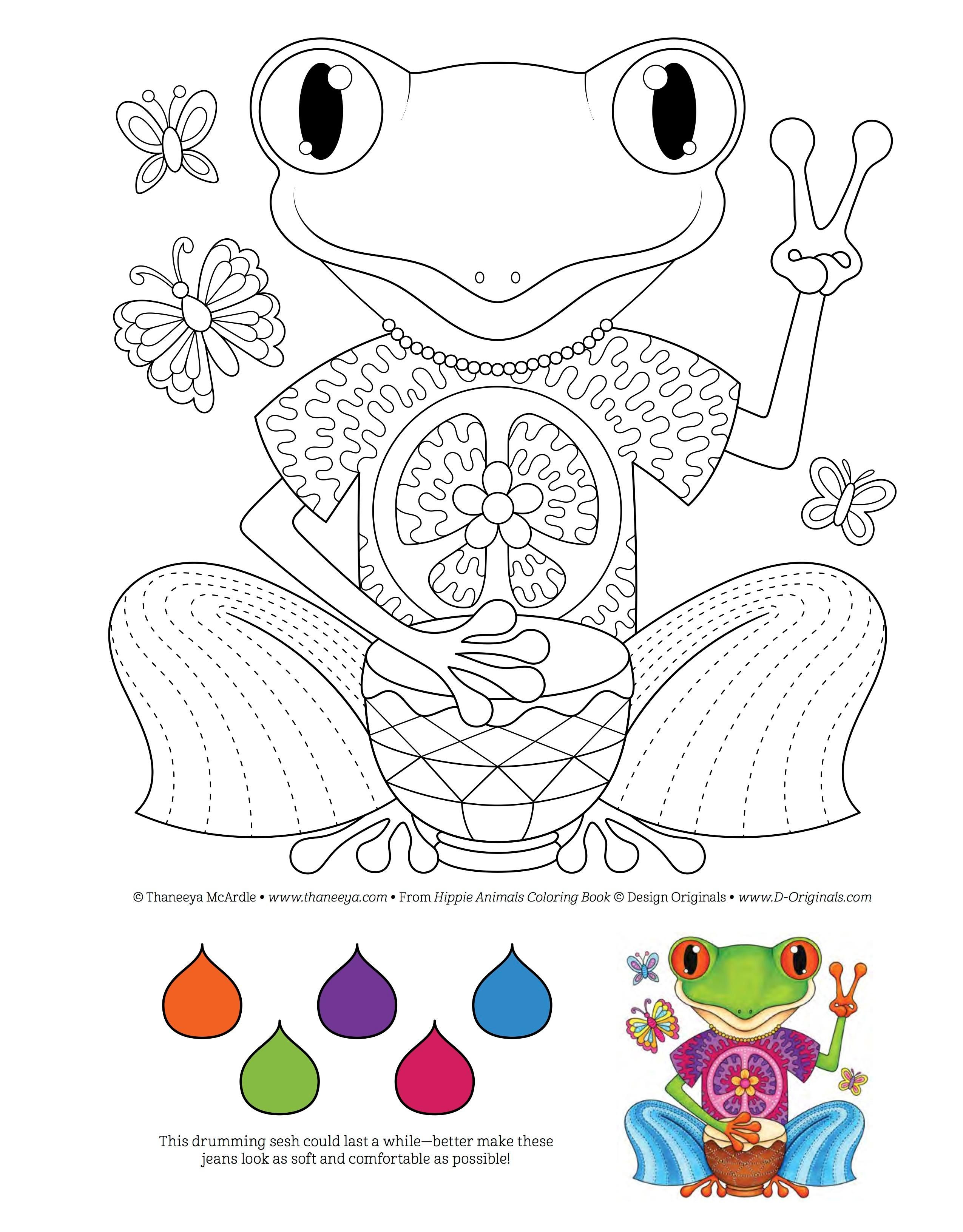 Hippie Animals Coloring Book (coloring Is Fun