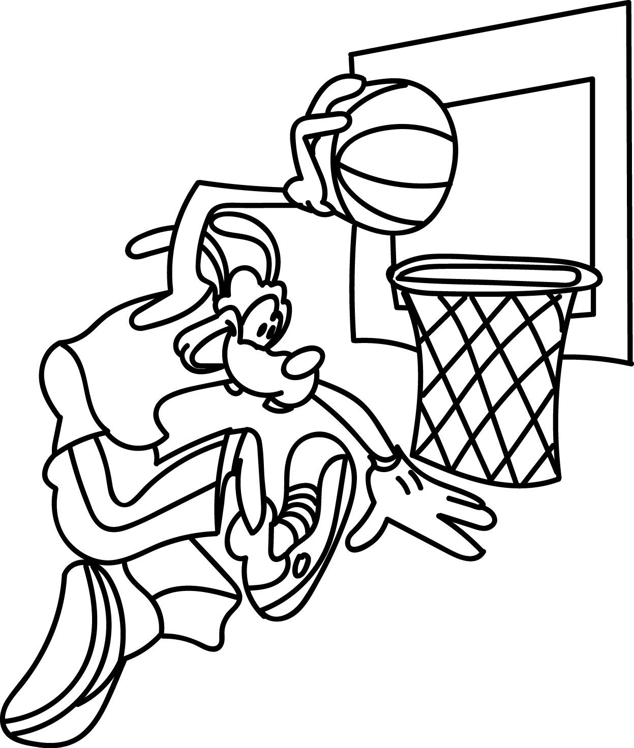 Awesome Goofy Playing Shot Basketball Coloring Pages