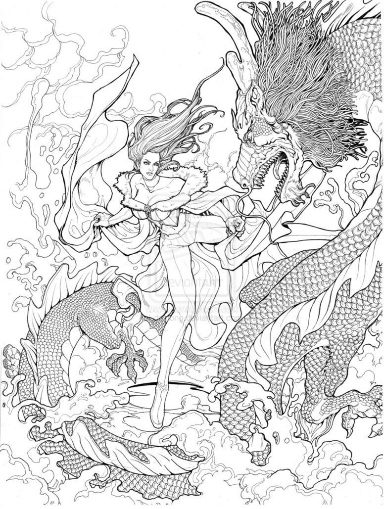 Emma Frost W Dragon By Daxiong On Deviantart   Coloring Book