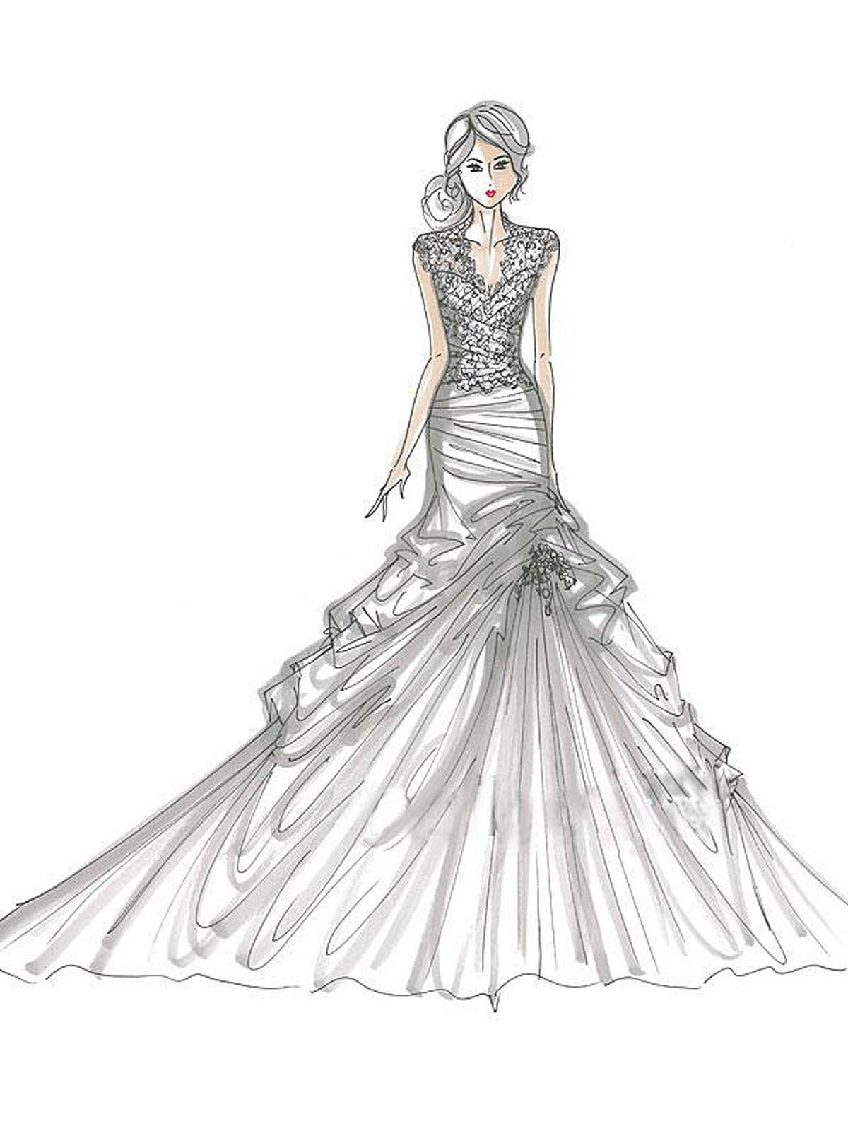 Of Wedding Dresses - Coloring Pages For Kids And For Adults