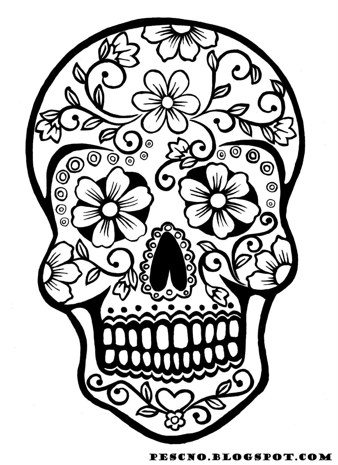 Sugar Skull Coloring Pages | Tryk P㥠Billedet For En Stor