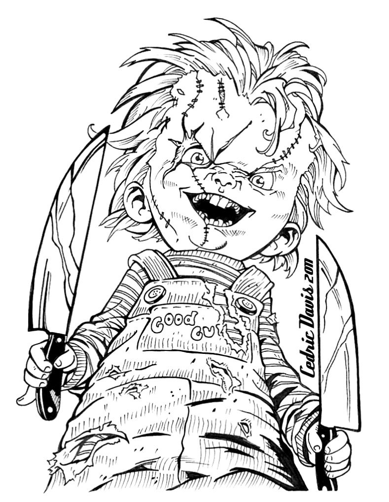 Chucky Drawings | Horror Adult Coloring Pages | Halloween