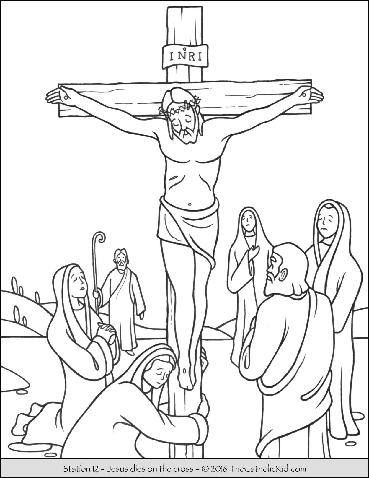 Stations Of The Cross Coloring Pages 12 - Jesus Dies On The