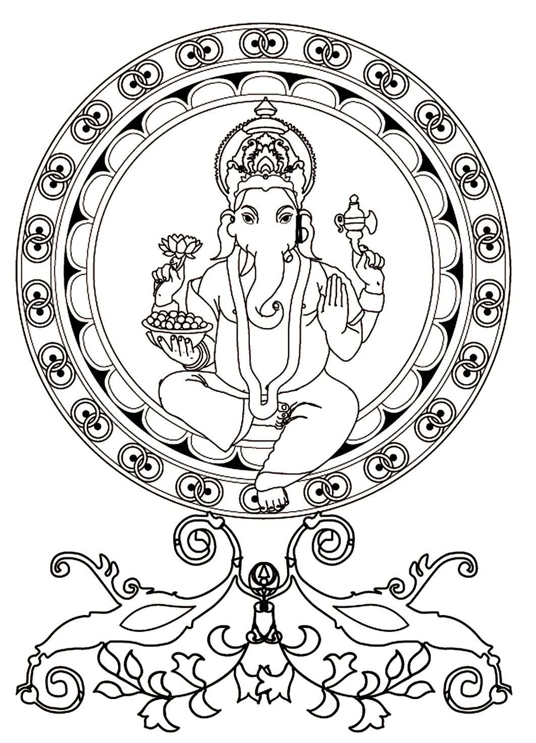Free Coloring Page Coloring-adult-ganesh The Hindu Deity