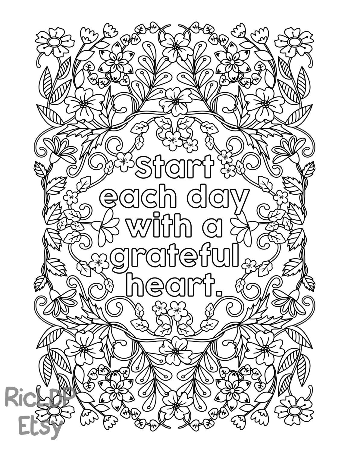 Start Each Day With A Grateful Heart - Adult Coloring Pages