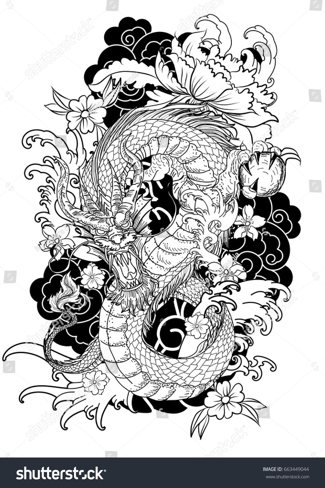 Hand Drawn Dragon Tattoo ,coloring Book Japanese Style   Art