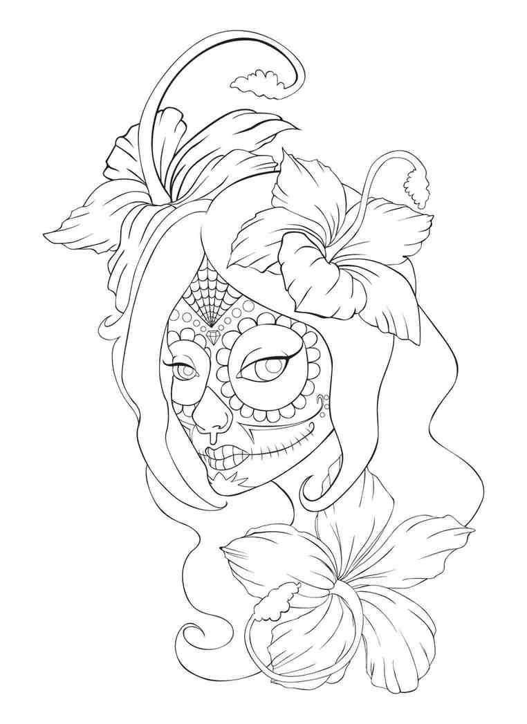 Dia De Muerta Sugar Skull Idea   Tattoos   Skull Coloring