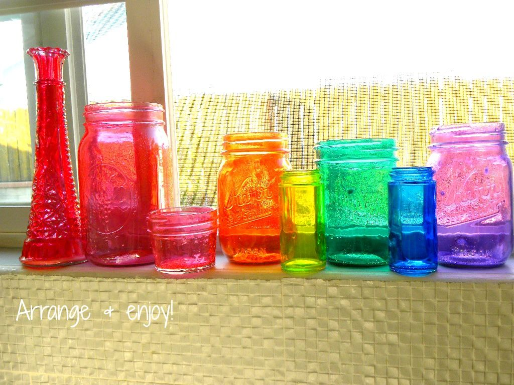 Make Your Own Colored Jars - Mod Podge And Food Coloring