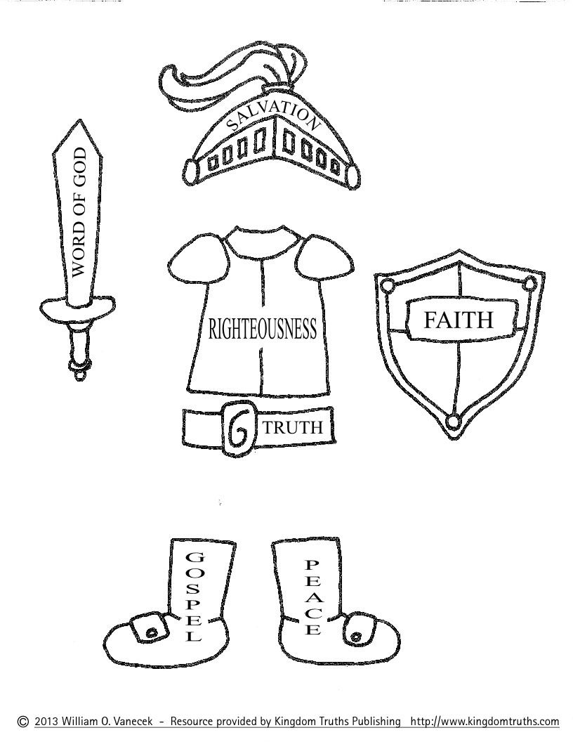 Printable Armor Of God   Armor Of God Coloring Pages
