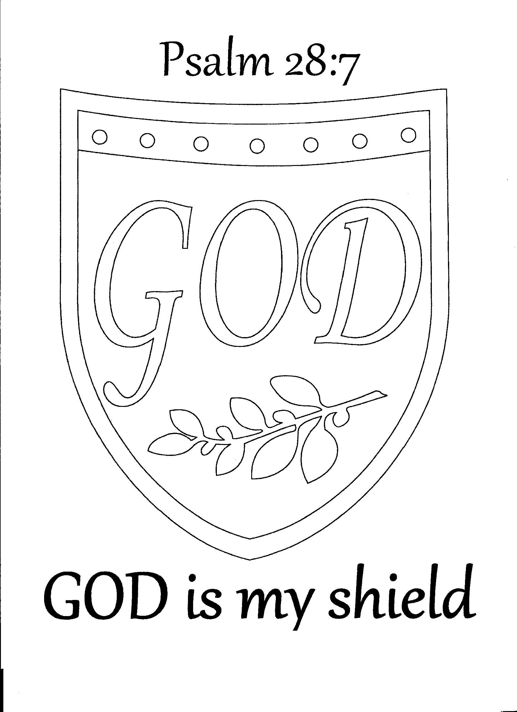God Is My Shield Psalm 28:7 Coloring Page | Sunday School