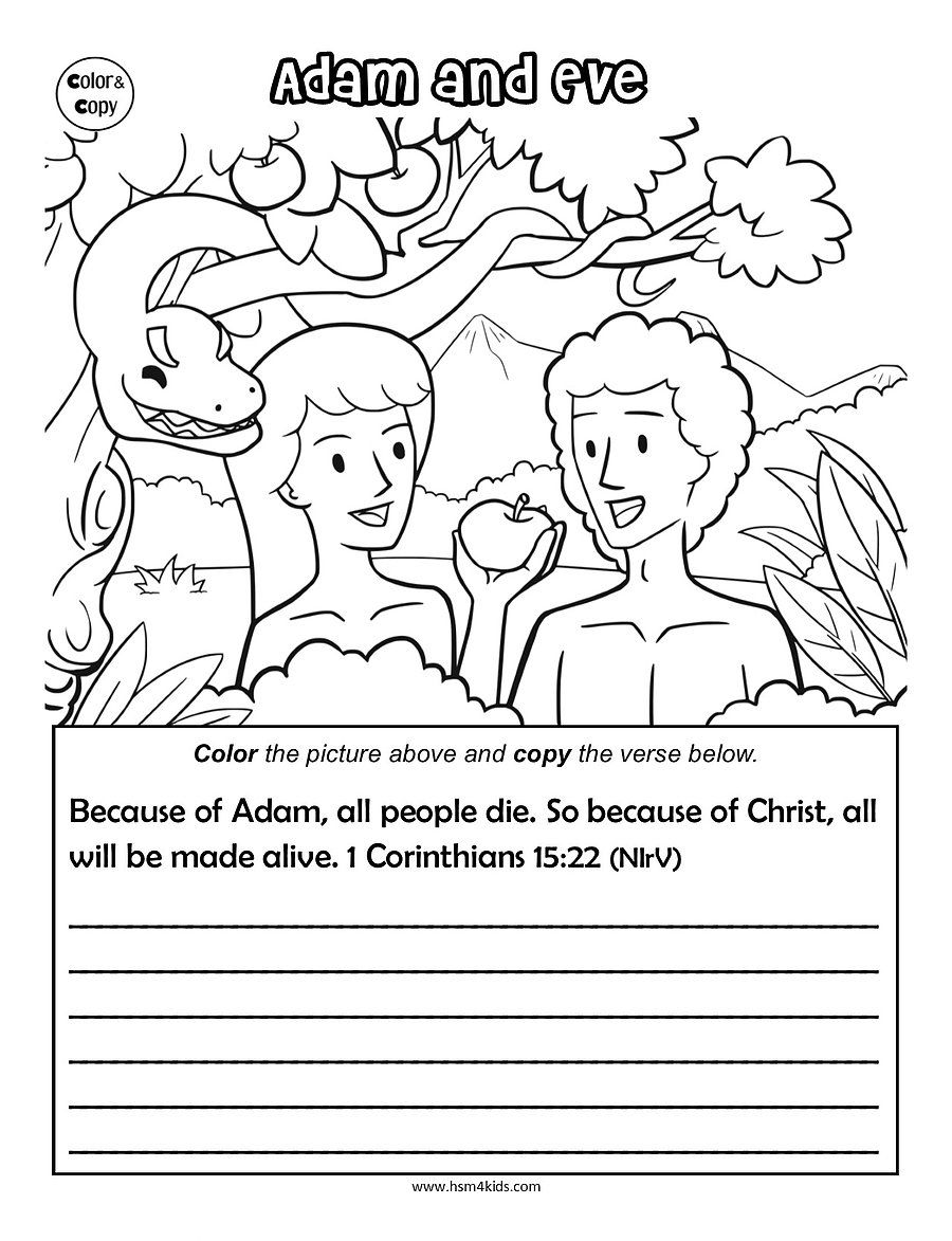 Adam And Eve Coloring | Worksheets Children Ministry | Bible