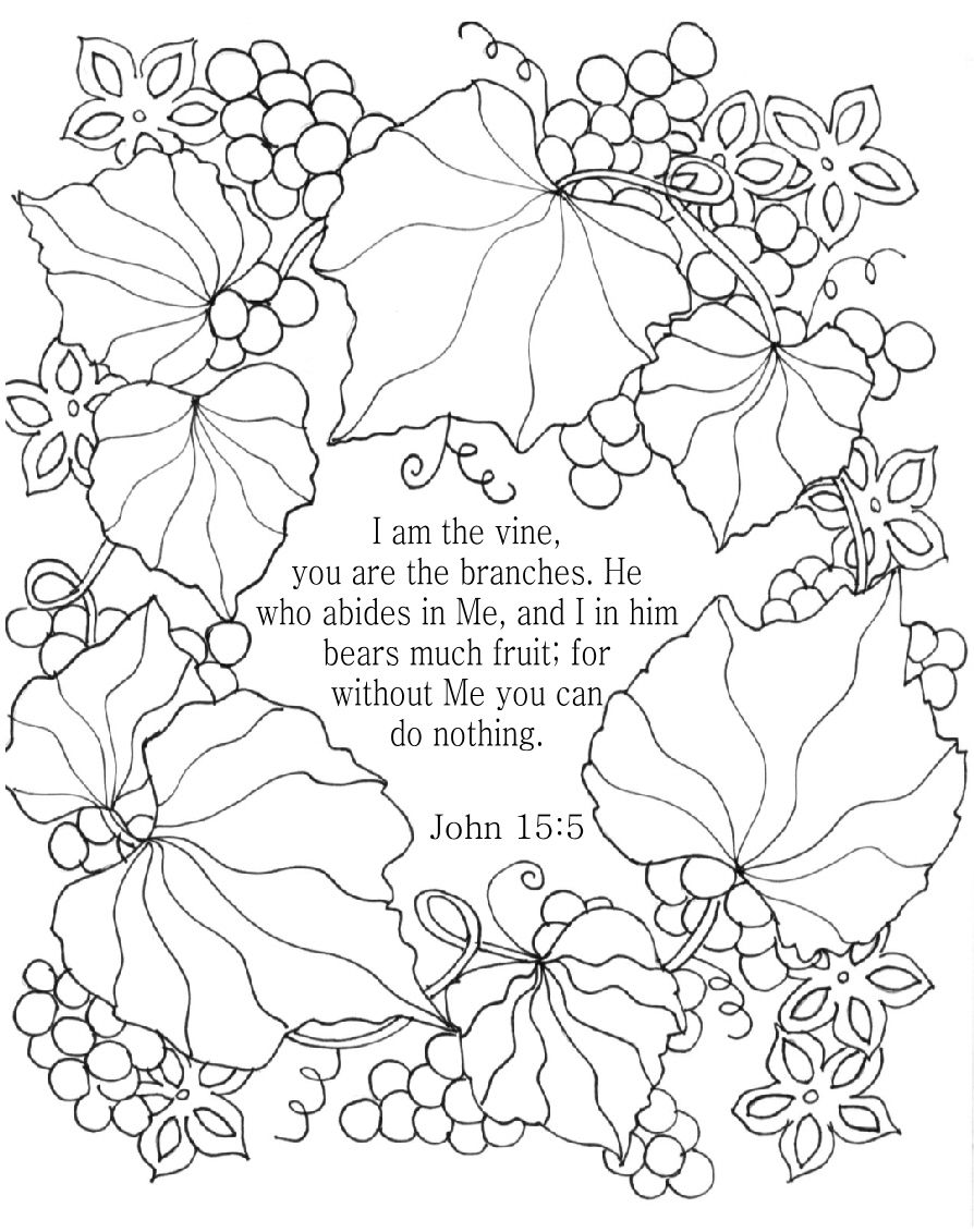 I Am The Vine - Bible Coloring Page For Adults - John 15:5