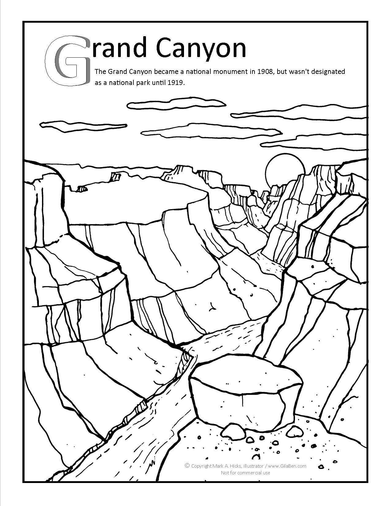 Grand Canyon Coloring Page At Gilabencom | Arizona Coloring