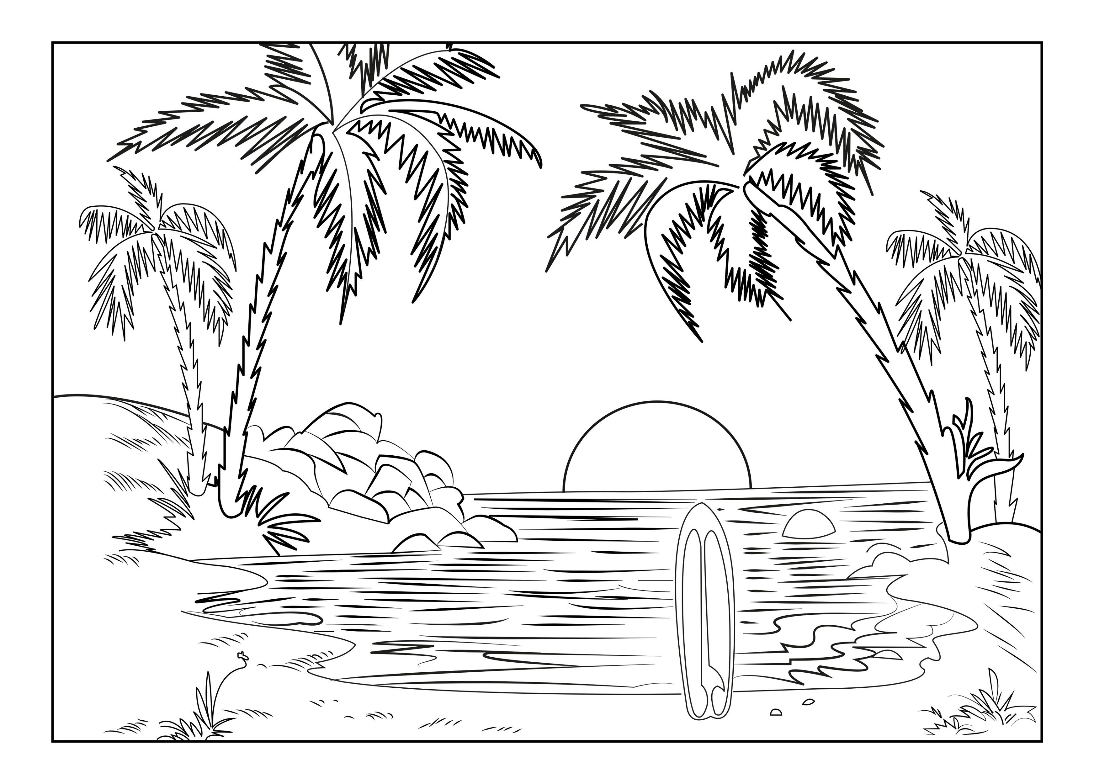 Free Adult Coloring Pages Sunset | K5 Worksheets | Coloring
