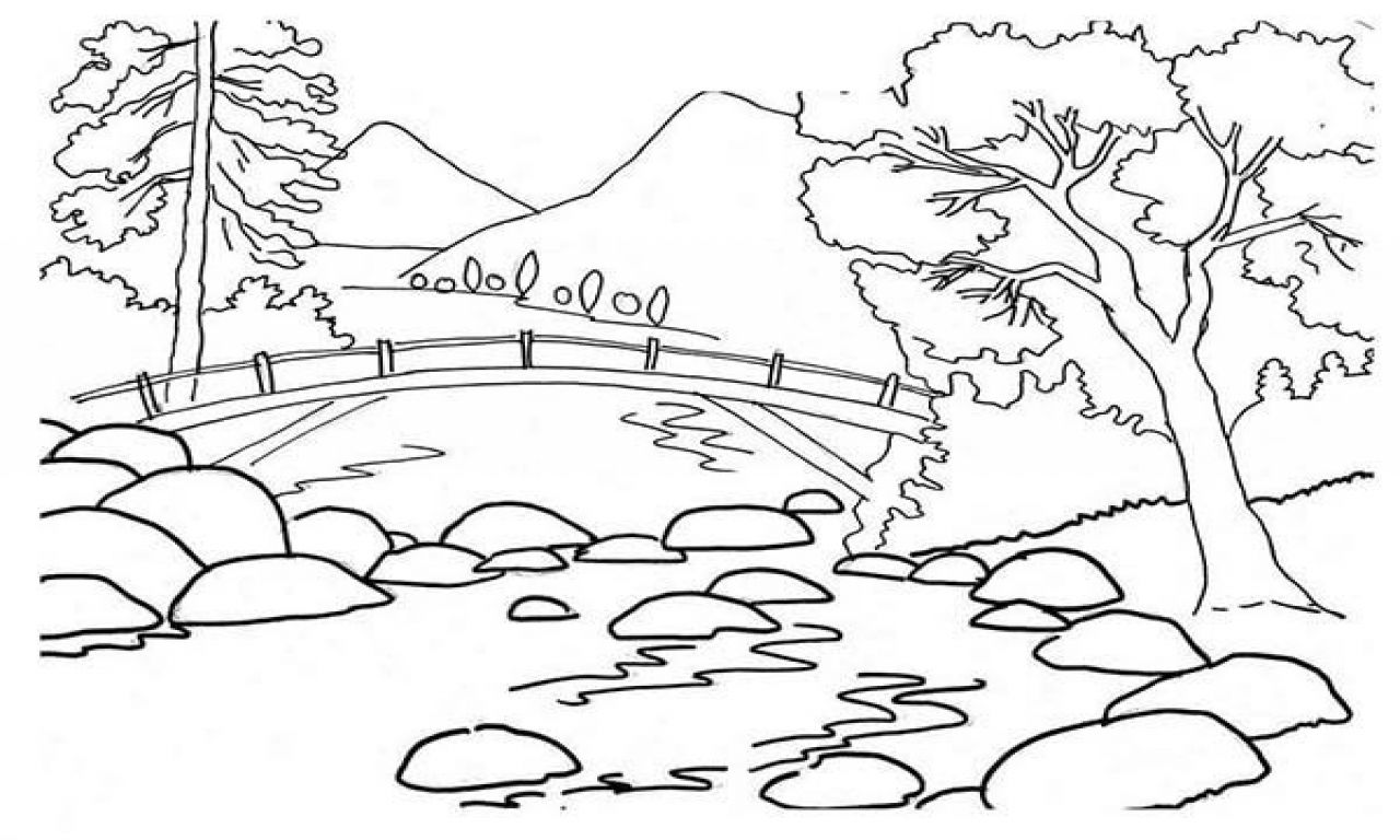 Image Result For Mountain Landscape Coloring Pages | Spring