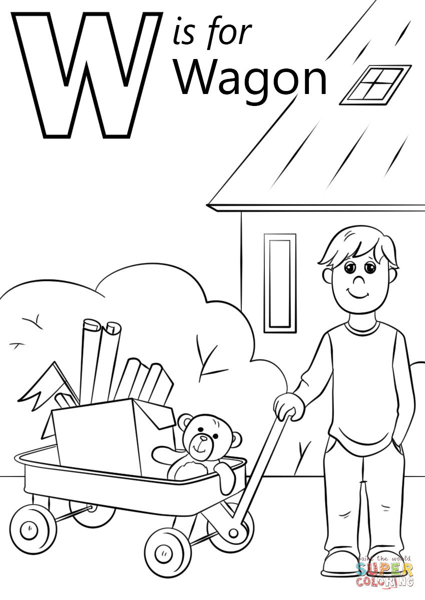 Letter W Is For Wagon Coloring Page From Letter W Category