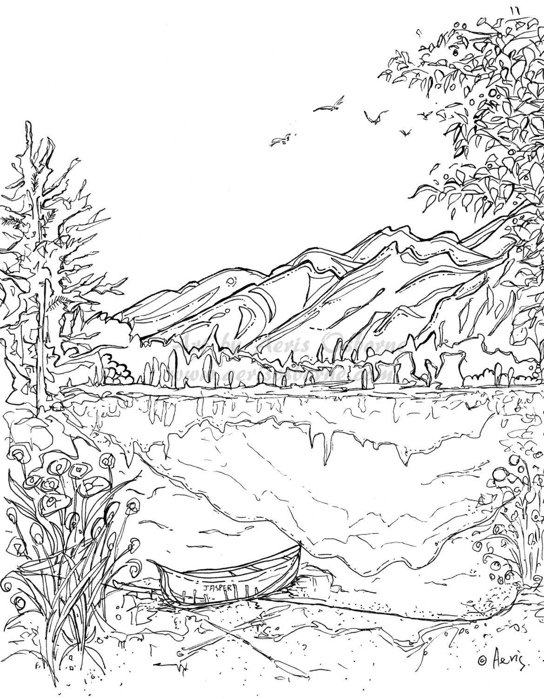 Serenity Jasper Landscape Printable Coloring Page, Canoe