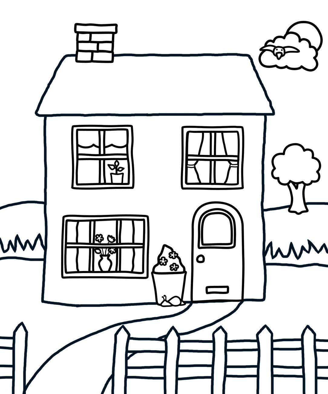 Fairy House Coloring Pages For Adults Inside Gingerbread