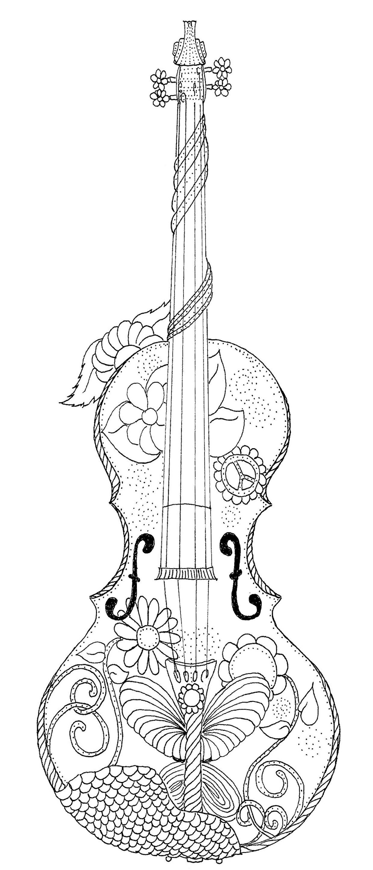 Violin Coloring Page | Color Me Stuff | Coloring Pages