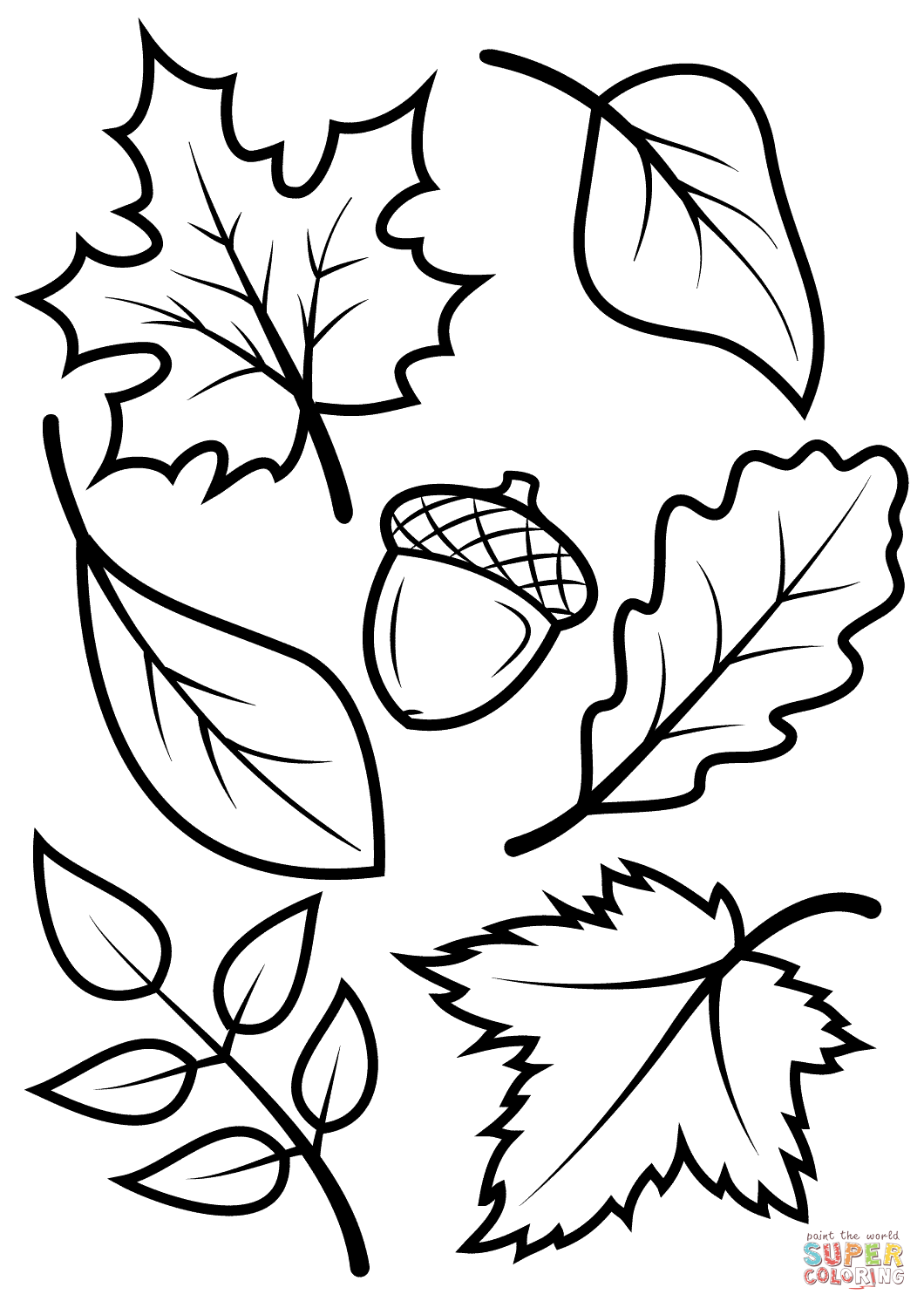 Fall Leaves And Acorn Coloring Page From Fall Category