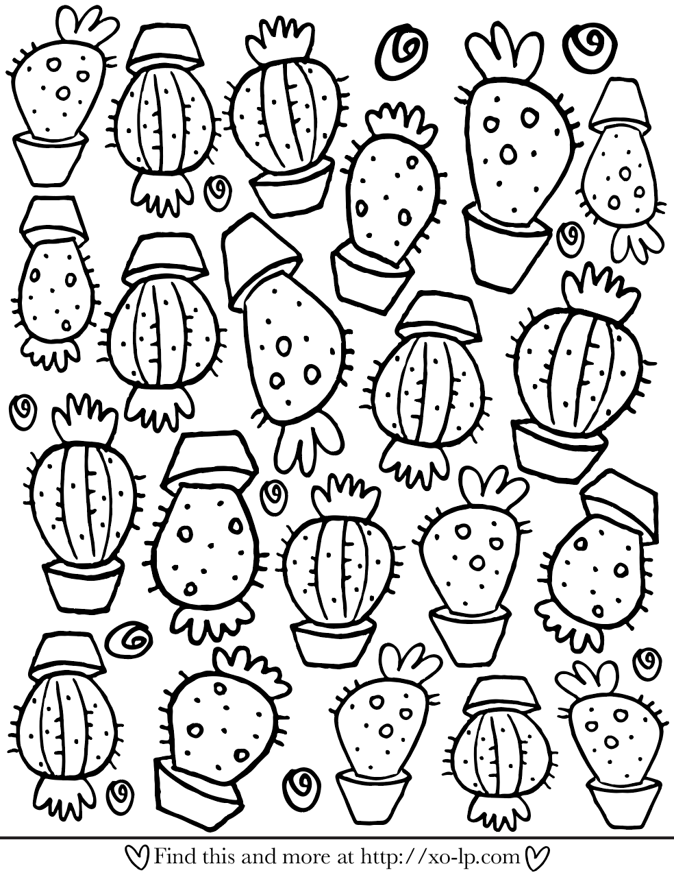 Free Cactus Printable Coloring Page   Printable Coloring