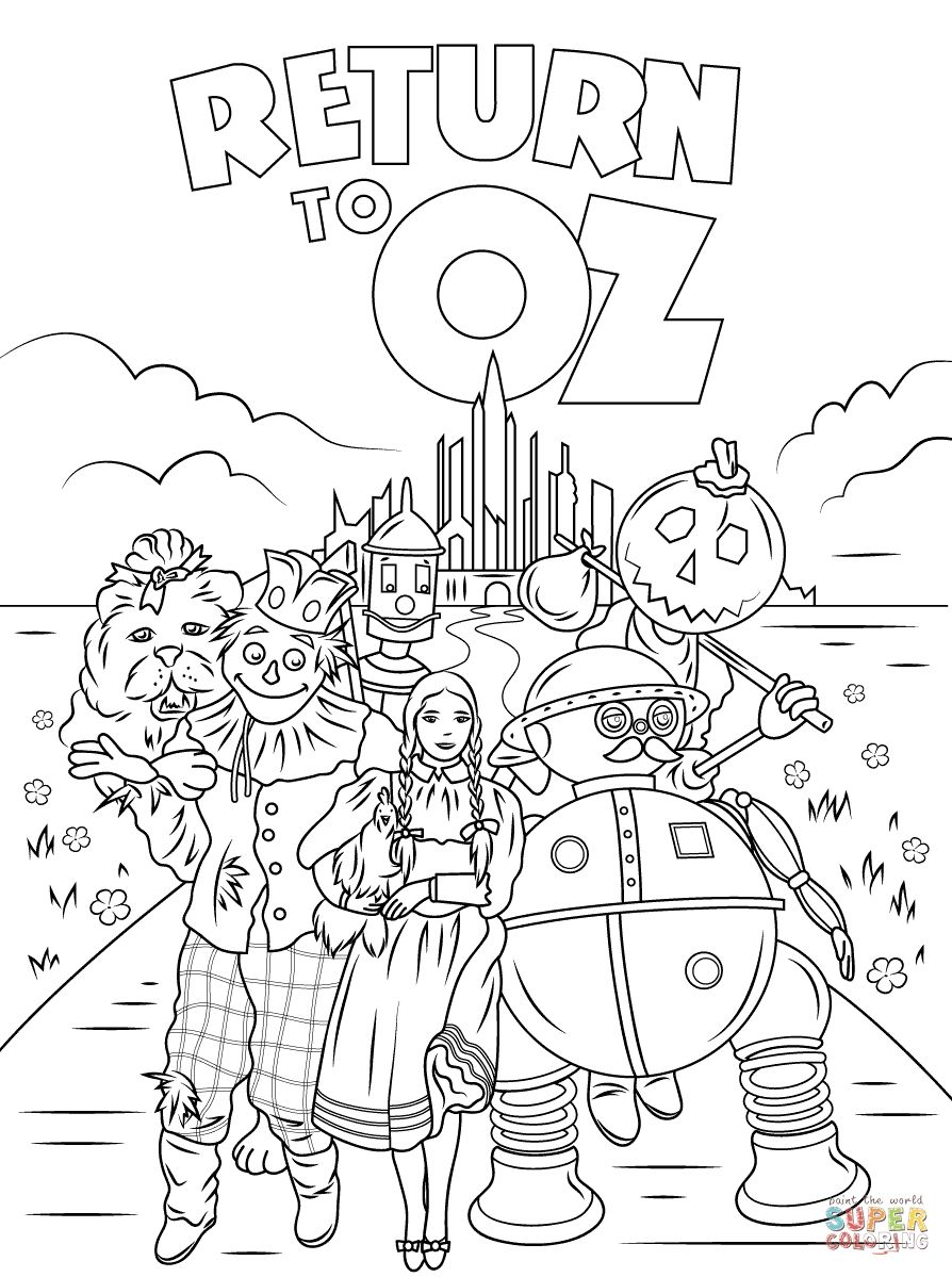 Awesome Wizard Oz Printable Coloring Pages Printable