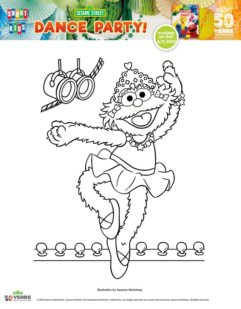 Free Printable Zoe Dance Party Coloring Page From Sesame
