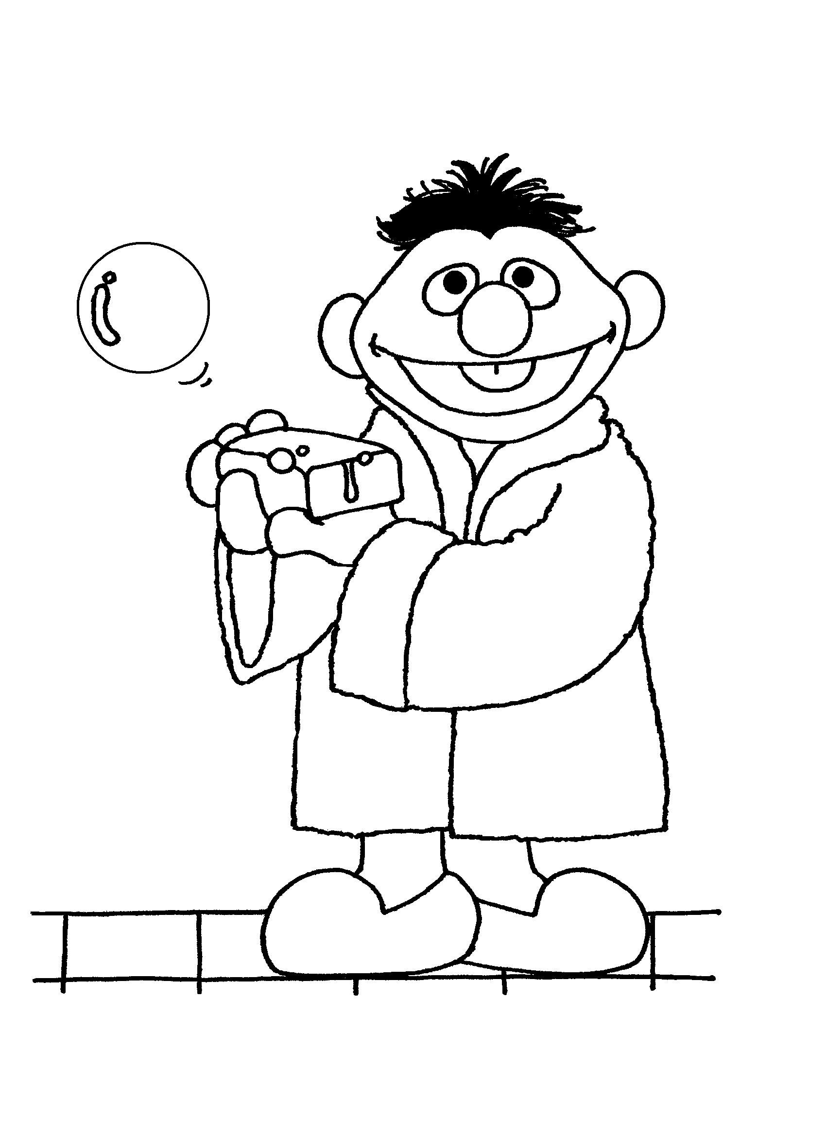 Bath Time Ernie (coloring Pages)   Coloring Pages - Sesame