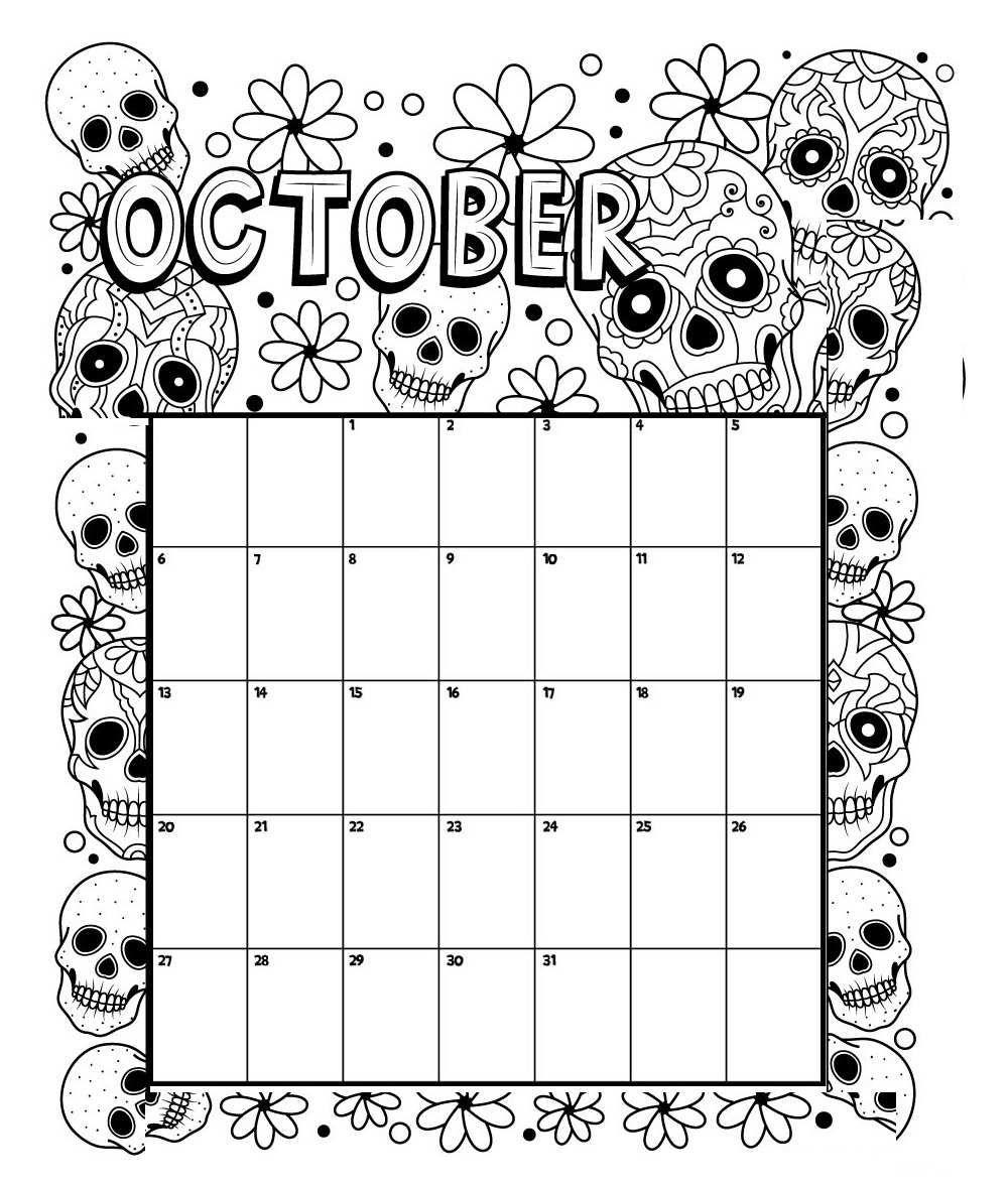 October Printable Coloring Calendar 2019 | Calendar