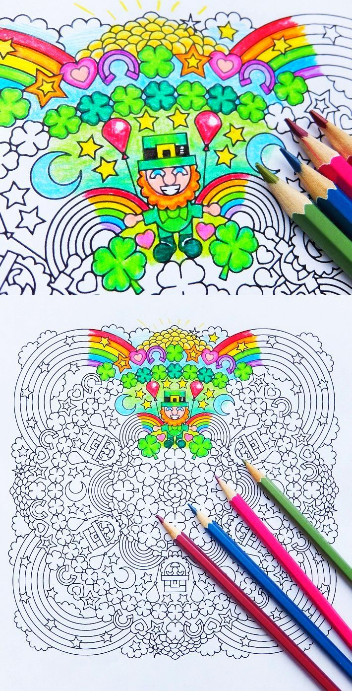 Lucky Charms Party - St Patrick's Day Mandala Coloring Page