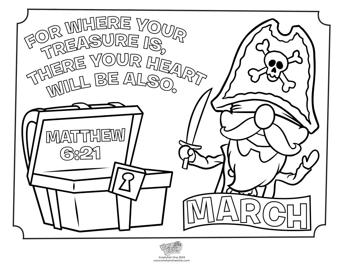 March Treasure Coloring Page - Matthew 6:21 | Kid's Church