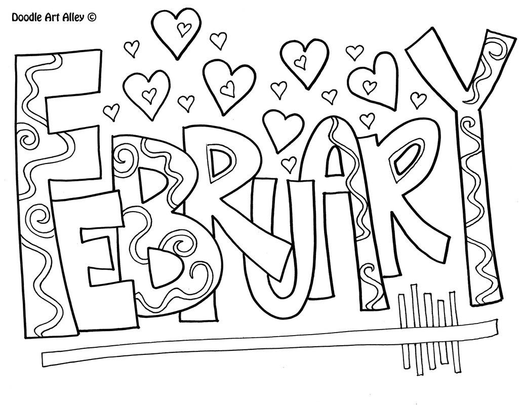 Months Of The Year Doodle Art Coloring Pages   Adult