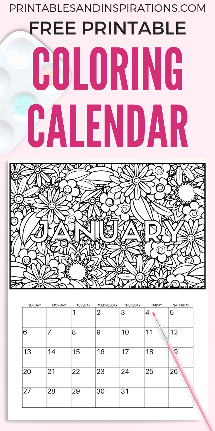Free Calendar Coloring Pages For 2019 | Craft Group | Free