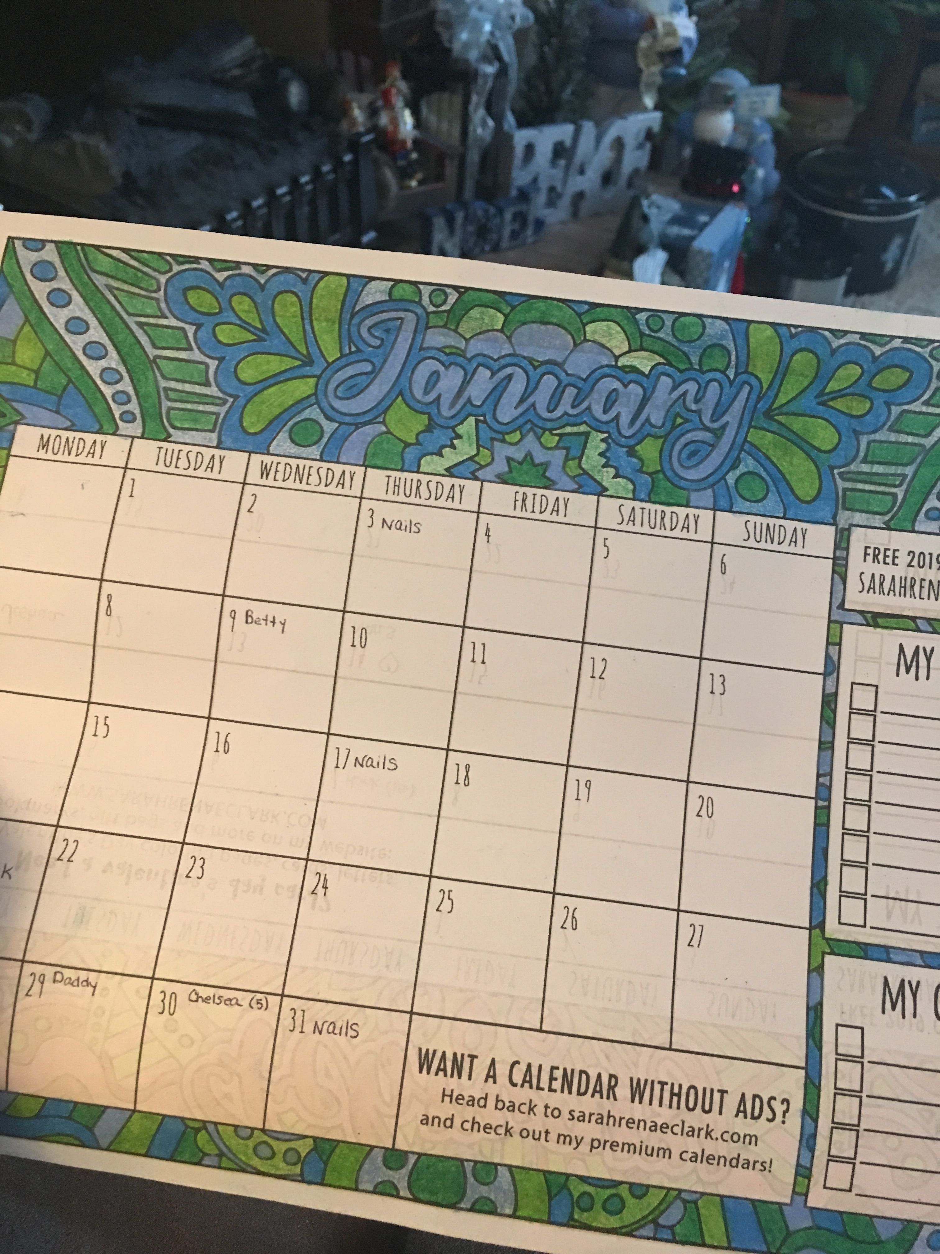 2019 Coloring Calendar (free With Ads | Arts | Coloring