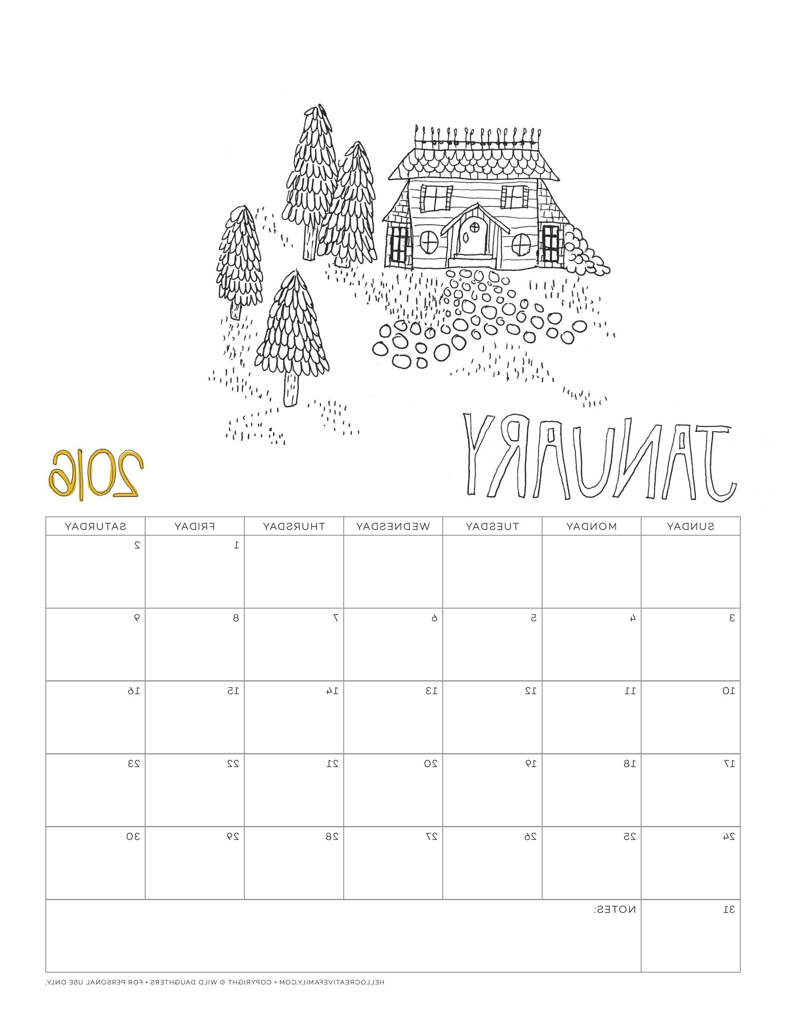 Coloring Calendar 2016 | Coloring Page | Color, Coloring