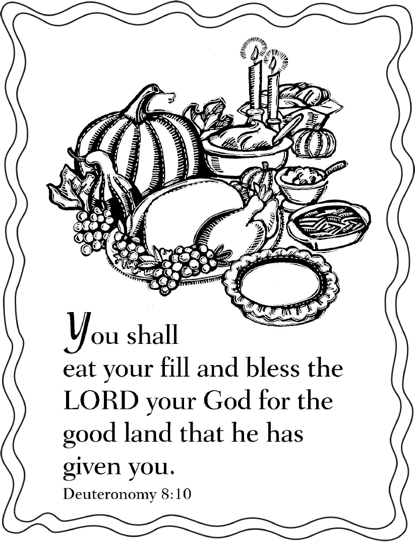 "Thanksgiving Coloring Pages Scripture ""when Thou Hast Eaten"